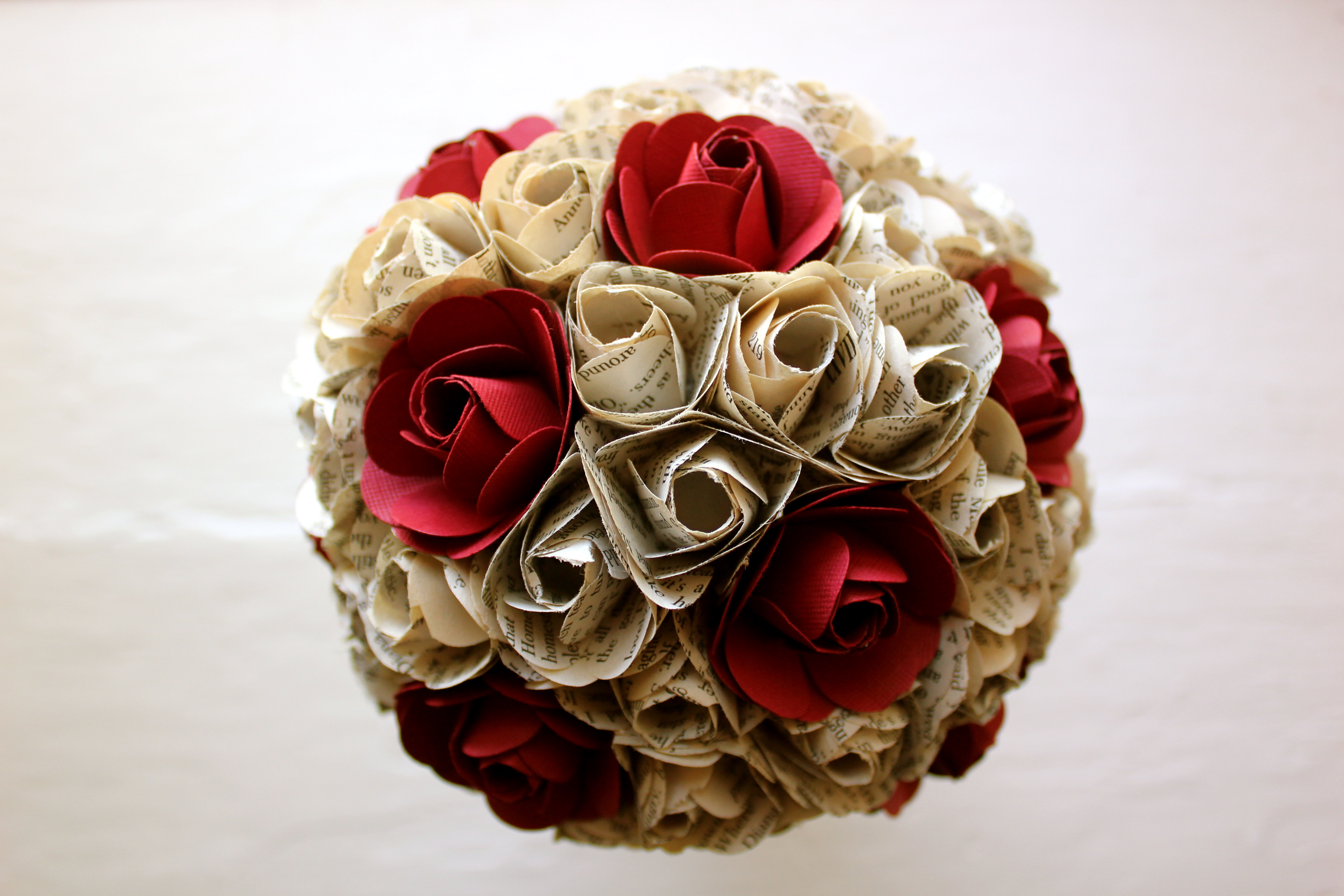 Book Page and Crimson Red Paper Bouquet