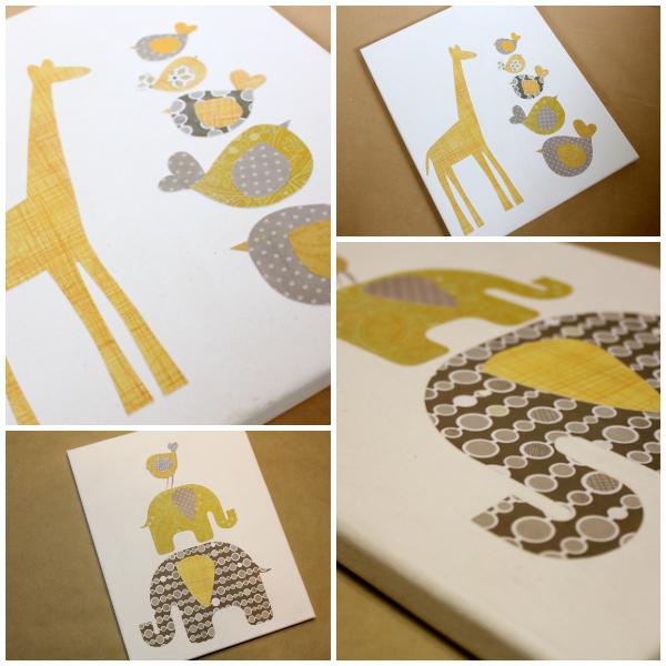 Elephant and Giraffe Paper Canvas Art