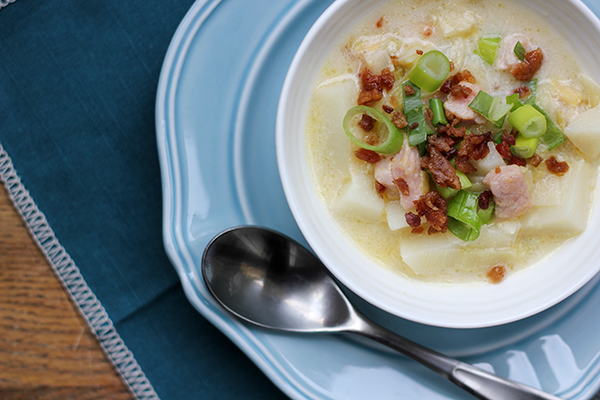 Chunky Potato Leek Soup by 27thandolive.com